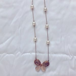 Whimsical butterfly and pearl necklace